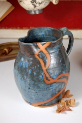 Large One Gallon Pitcher in Slate Blue with Rust