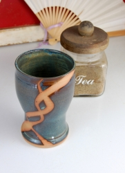 Slate Blue Tumbler or Pint Glass with Rust Chain