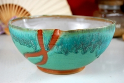 Serving Bowl in Turquoise with Rust Chain