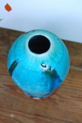 Turquoise Vase with Blue Cascading Glass