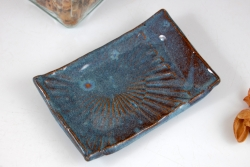 Textured Soap Dish in Slate Blue