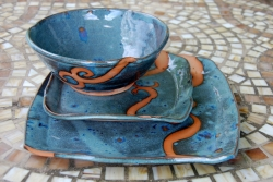 Slate Blue with Rust Waves Dinnerware Place Setting