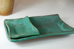 Sushi Plate and Soy Dish Set in Turquoise