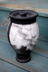 Marbled Raku Cremation Urn