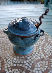 Soup Tureen or Punch Bowl Set with Laddle in Slate Blue