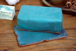 Covered Butter Dish in Turquoise with Sun Texture