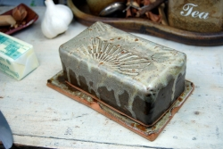 Covered Butter Dish in Brownstone with Sun Texture