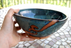 Serving Bowl in Slate Blue and Rust Waves