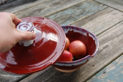 Covered Serving Bowl in Red Agate