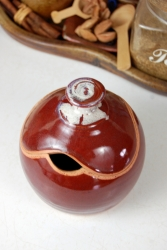 Round Sugar Bowl / Honey Jar in Red Agate