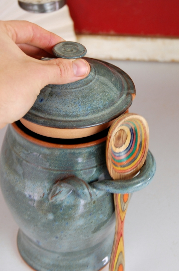 Handmade Pottery Kitchen Canister in Slate Blue Wheel Thrown Stoneware  Pottery Kitchen Canister