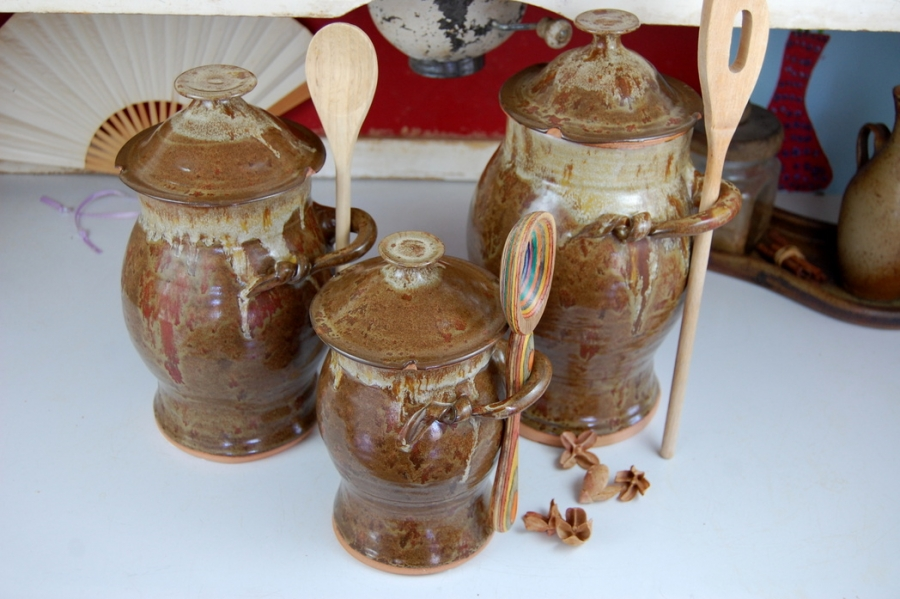 Handmade Pottery Kitchen Canister Set of Three in Rustic Brown Wheel Thrown  Canister Set
