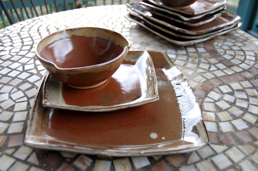 Handmade Pottery Dinnerware Set In Rustic Red Square Plate