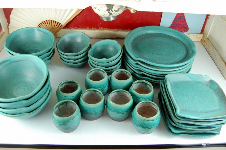 Handmade Pottery Dinnerware Set Turquoise Pottery Dishes