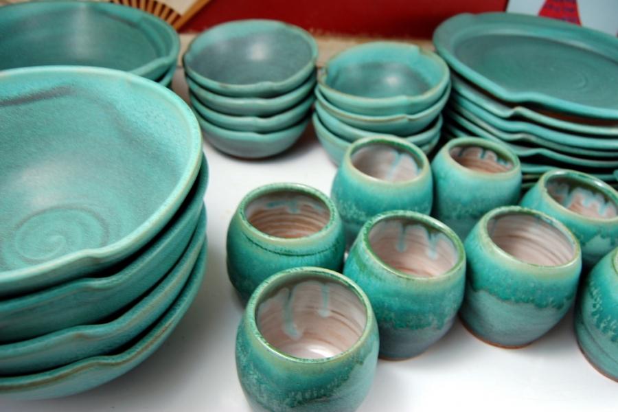 Handmade Pottery Dinnerware Set Turquoise Pottery Dishes Stoneware Dinnerware Set & Handmade Pottery Dinnerware Set Turquoise Pottery Dishes Stoneware ...