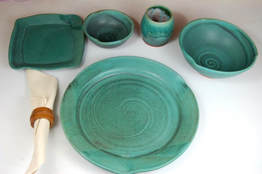 Handmade Stoneware Pottery Dinnerware Plates in Turquoise Round Wheel Thrown Dinner Plates & Handmade Stoneware Pottery Dinnerware Plates in Turquoise Round ...