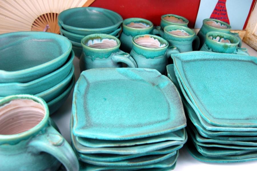 Handmade Pottery Dinnerware Set Turquoise Stoneware