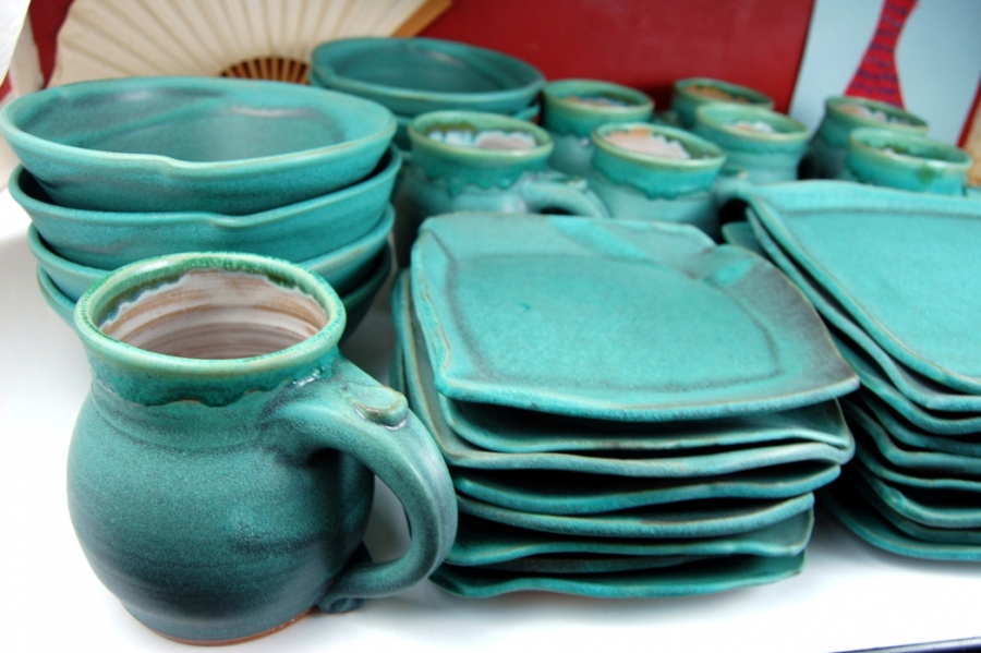 Handmade Pottery Dinnerware Set Turquoise Stoneware Pottery Dinnerware Set Hand Thrown Pottery & Handmade Pottery Dinnerware Set Turquoise Stoneware Pottery ...