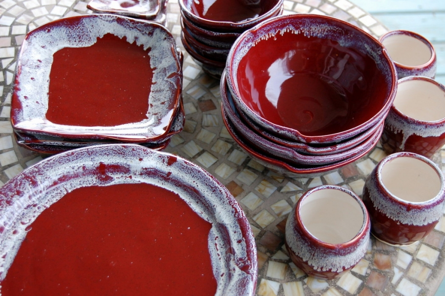 Eclectic Dinnerware Set for Four in Red Agate & Handmade Pottery Dinnerware Set Red Glazed Stoneware Pottery ...