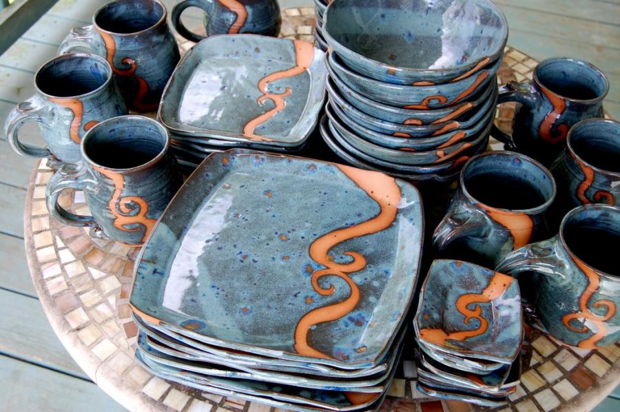 Handmade Pottery Dinnerware Set Slate Blue Stoneware Pottery Dinnerware Set & Handmade Pottery Dinnerware Set Slate Blue Stoneware Pottery ...