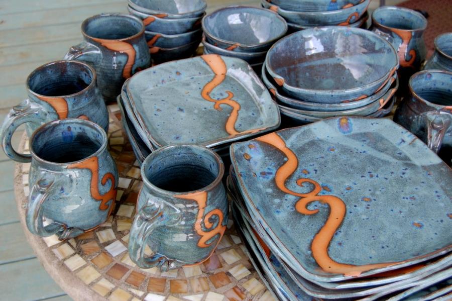 Handmade Pottery Dinnerware Set Slate Blue Stoneware