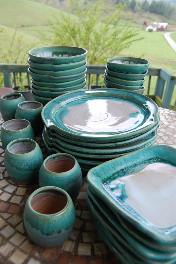 Eclectic Dinnerware Set for Eight in Turquoise and White & Handmade Pottery Dinnerware Set Stoneware Pottery Dishes Dinnerware Set