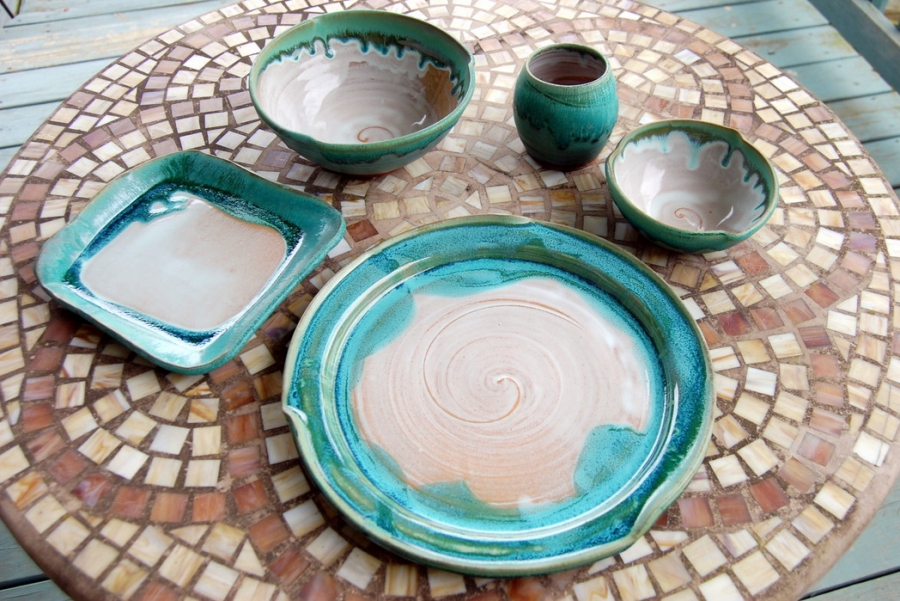 Eclectic Place Setting in Turquouse and White & Pottery Dinnerware Set Place Setting Stoneware Pottery Dishes Wheel ...