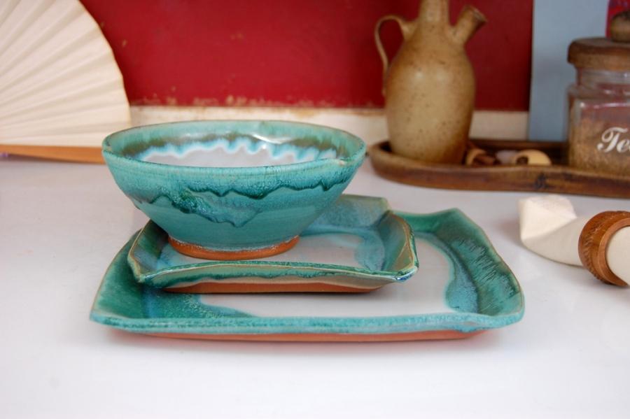 Pottery Dinnerware Set Turquoise and White Place Setting Stoneware Pottery Dishes Dinnerware Set & Pottery Dinnerware Set Turquoise and White Place Setting Stoneware ...