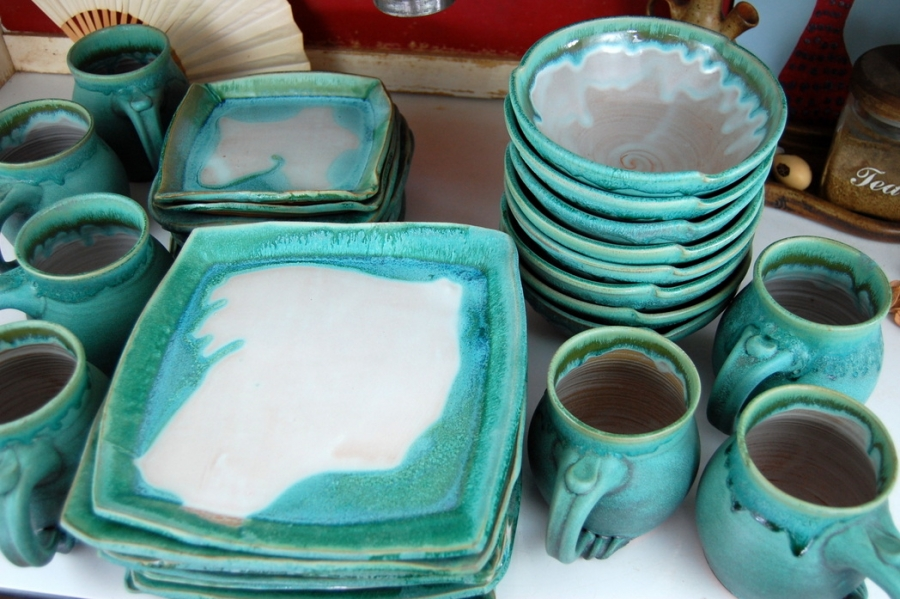 Handmade Pottery Dinnerware Set Turquoise and White Stoneware Pottery Dinnerware Set Hand Thrown Pottery & Handmade Pottery Dinnerware Set Turquoise and White Stoneware ...