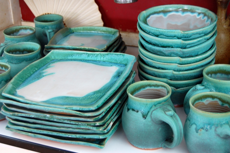 Handmade Pottery Dinnerware Set Turquoise And White