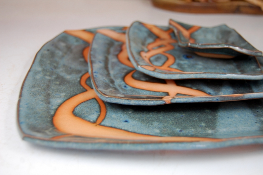 Square Plate Set in Slate Blue and Rust Chain & Handmade Pottery Dinnerware Set Blue Square Plate Place Setting ...