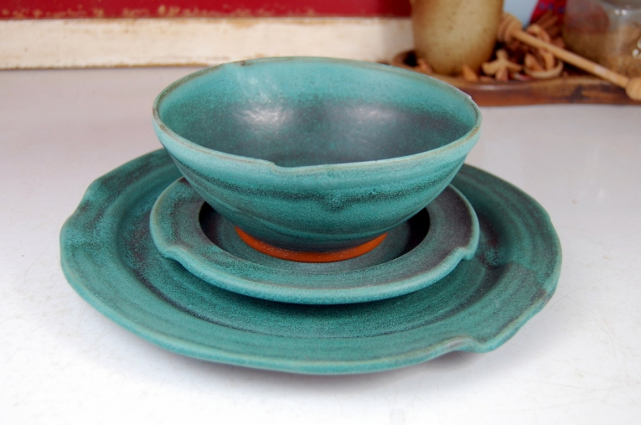 Handmade Pottery Dinnerware Set Hand Thrown Place Setting Turquoise Stoneware Pottery & Handmade Pottery Dinnerware Set Hand Thrown Place Setting Turquoise ...