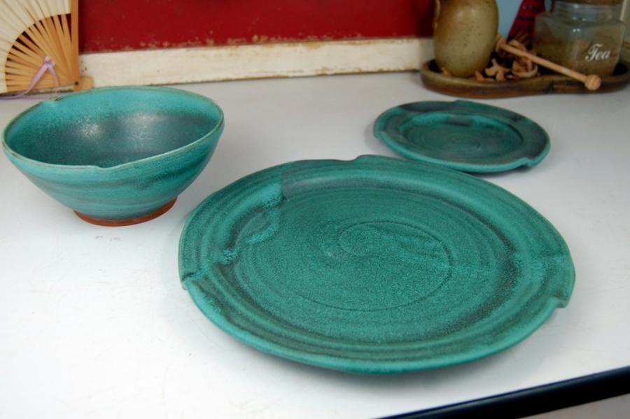 Handmade Pottery Dinnerware Set Hand Thrown Place Setting Turquoise Stoneware Pottery & Handmade Pottery Dinnerware Set Hand Thrown Place Setting Turquoise ...