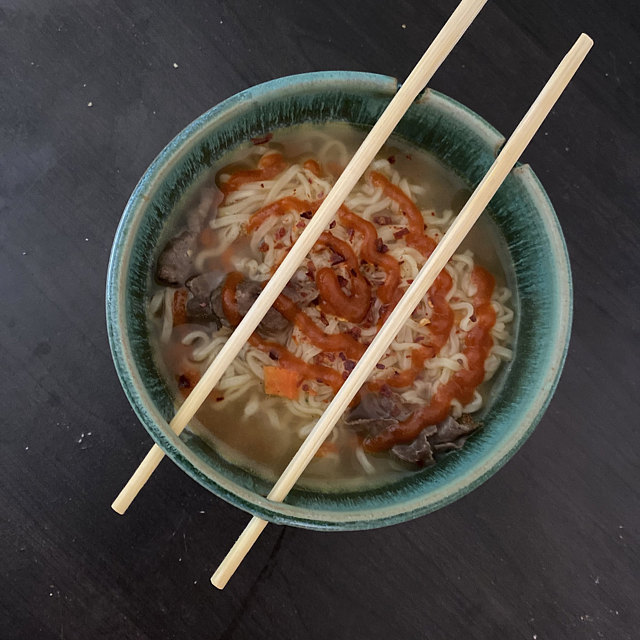 Noodle Bowl Or Ramen Bowl Hand Thrown Stoneware Pottery Noodle Soup Bowl