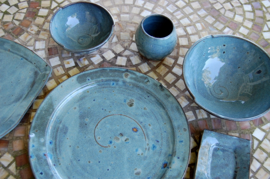 Pottery Dinnerware Set Place Setting Blue Stoneware Pottery Dishes Wheel Thown Dinnerware Set & Pottery Dinnerware Set Place Setting Blue Stoneware Pottery Dishes ...