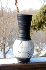 Large Marbled Naked Raku Vase