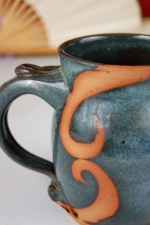 Slate Blue Mug with Rust Waves Design