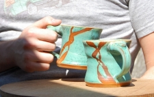 12 oz Turquoise Mug with Rust Chain - Handmade to Order