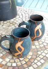Huge Slate Blue Monster Mug with Rust Chain