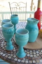 Set of Four Wine Goblets and Carafe in Turquoise