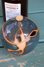 Round Sugar Bowl / Honey Jar in Slate Blue with Rust