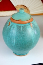 Turquoise Lidded Jar or Urn - In Stock