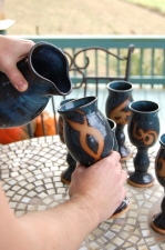 Set of Six Wine Goblets and Carafe in Slate Blue with Rust Chain