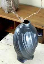 Faceted Gunmetal Black Raku Vase