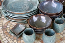 Eclectic Service for Six in Slate Blue Dinnerware Set
