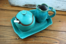 Turquoise Creamer And Sugar Set with Tray - Handmade to Order