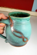 Huge Turquoise Monster Mug with Rust Chain