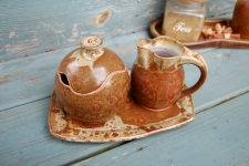 Brownstone Creamer And Sugar Set with Tray - Handmade to Order