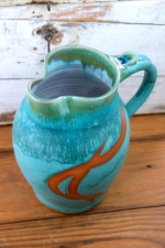 Large One Gallon Pitcher in Turquoise with Rust
