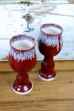Wine Goblet in Red Agate